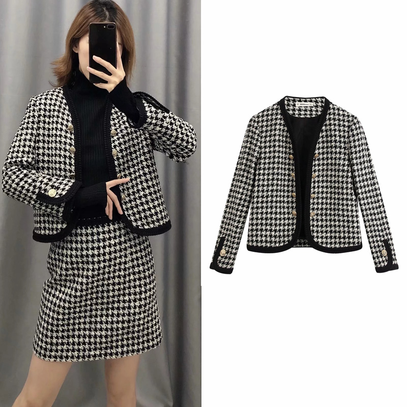England Elegant Women's Suit Blazer Tweed Single Breasted Office Wear Plaid Short Jacket Women Casual Houndstooth Female Coat