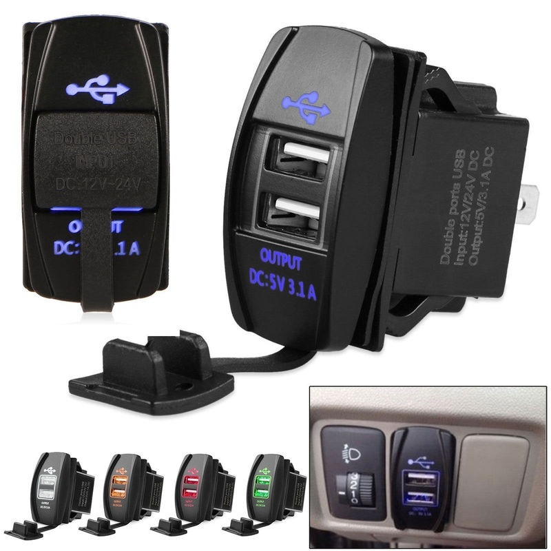 3.1A Dual USB Port Charger Socket Outlet 12V LED Waterproof for Motorcycle Car