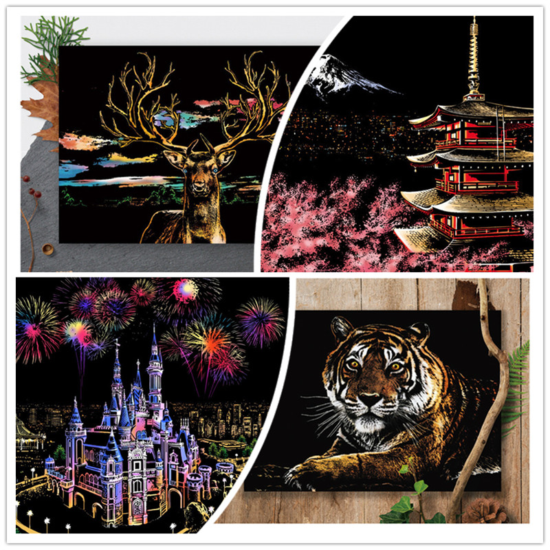 41*28cm Night View City Animal Scratch Painting Cards Diy Art Adult Crafts Scratch Paper Home Decor Wall art poster drawing Toys