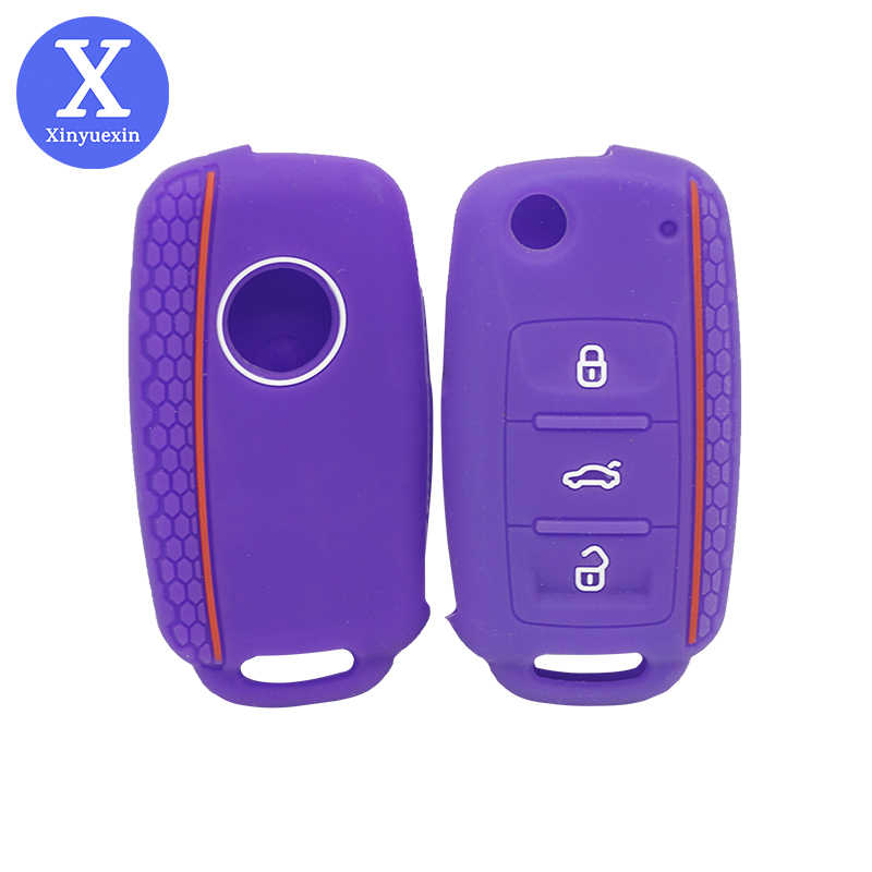 Xinyuexin Auto Sleutel Cover Case Shell Fob Voor Vw Bora Polo Golf Passat Silicone Key Case 3 Knop Afstandsbediening Sleutel voor Passat B6 Klep