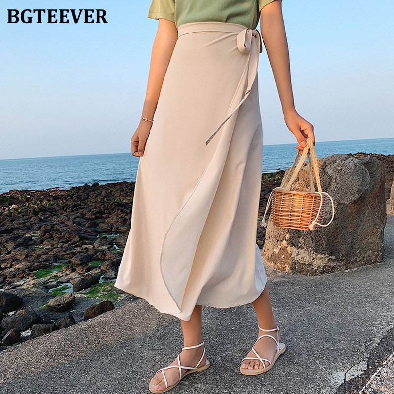 BGTEEVER Vintage Midi One Piece Skirts Women Loose Solid High Waist Lace Up Chiffon Skirts Female 2020 Spring Summer 11 Colors