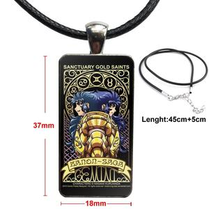 Image 2 - Cartoon Saint Seiya Gold Saints Card For ValentineS Day Gift Glass Cabochon Pendant Necklace Rectangle Fashion Necklace