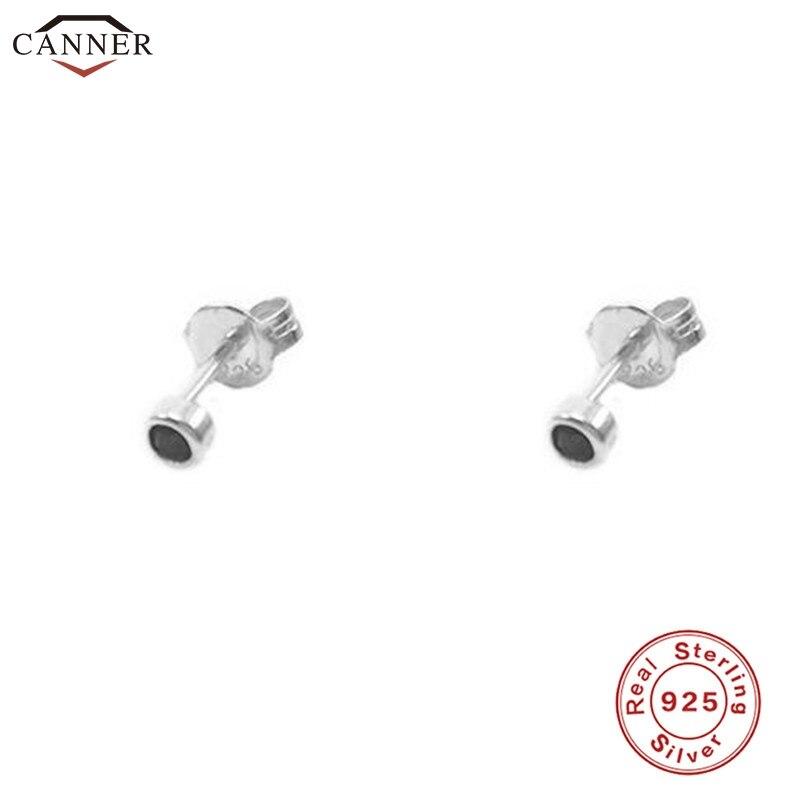Mini Gold Color Stud Earrings for Women Girls Black Crystal Stud Earrings 925 Sterling Silver 2019 Cute Tiny Zircon Earings H40