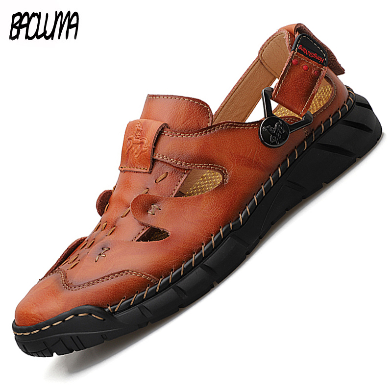 Sandalias clásicas nuevas para hombre, sandalias de playa para exteriores de verano para hombre, zapatillas de playa de cuero de moda para hombre, zapatillas informales de estilo romano para hombre 50 Zapatillas de piel