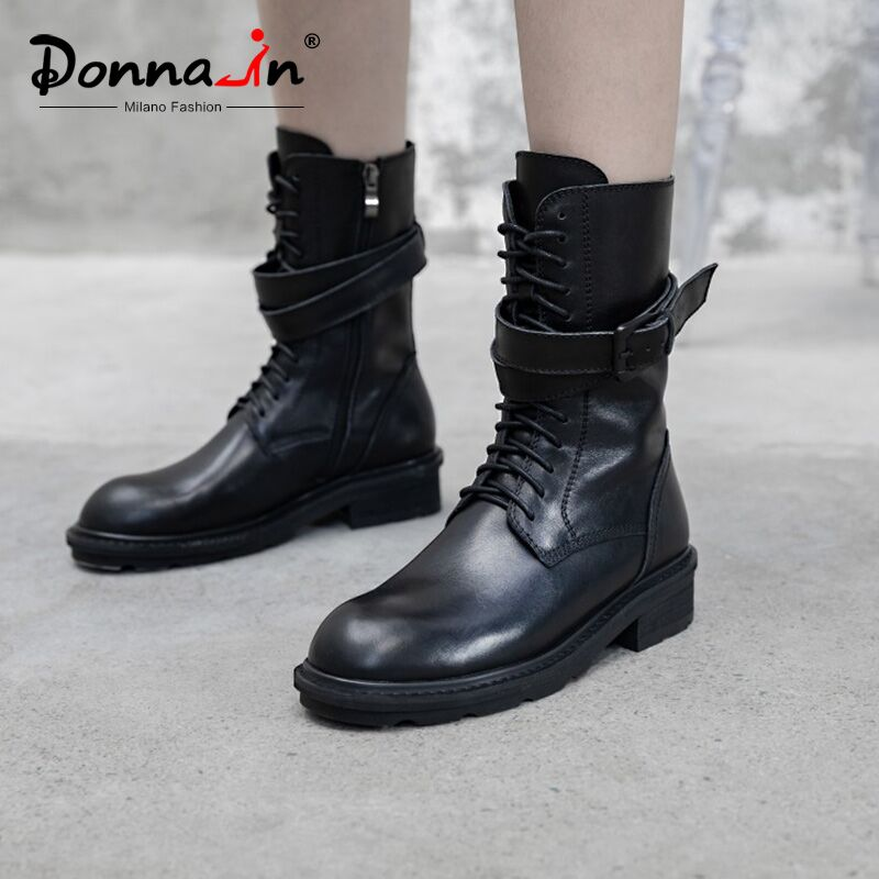 Donna-in Mid Calf Women Winter Boots Genuine Leather Stylish Zip Lace Up With Warm Plush Black Platform Boots Gothic For Ladies