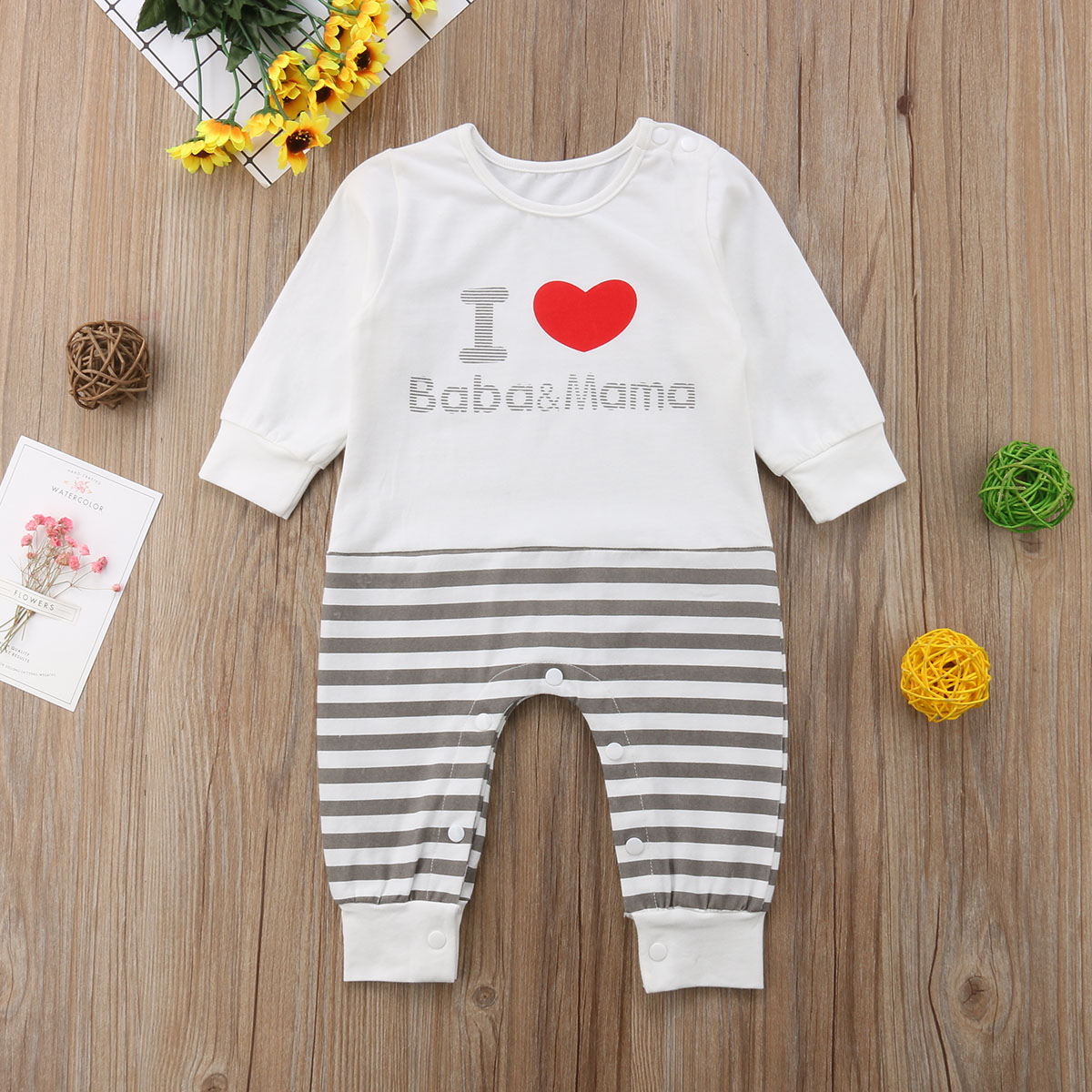 Newborn Kids Baby Girls Boy Long Sleeve Striped Jumpsuit Outfits Clothes
