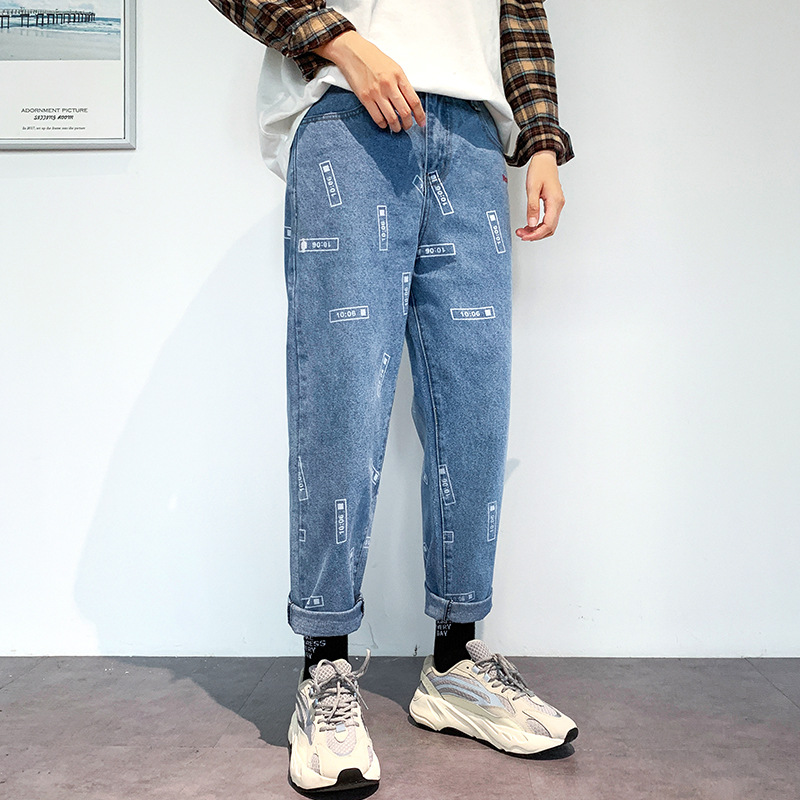 2019 Autumn And Winter New Style INS Hong Kong Style Jeans Men's Korean-style Trend Loose-Fit Pencil Pants Printed Teenager Pant