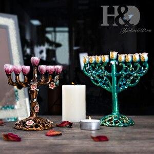 Image 4 - H & D 5 phong cách Hanukkah Vẽ Tay Men Menorah Không Gỉ Candino Chanukah Đền Chân Nến 9 Chi Nhánh Ngôi Sao David Nến giá đỡ