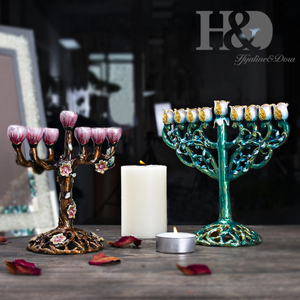 Image 4 - H & d 5 スタイルハヌカ手塗装エナメル本枝の燭台燭台のchanukah寺燭台 9 支店スターデビッドキャンドルホルダー