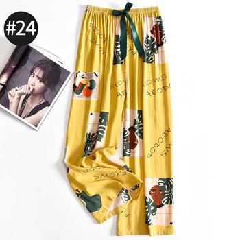 Lato luźne Homewear bielizna intymna bawełniane jedwabiste spodnie od piżamy damskie spodnie bielizna nocna drukuj kwiat bielizna nocna bielizna nocna tanie i dobre opinie COTTON Poliester CN (pochodzenie) Satyna S2071720 Elastyczny pas Pełnej długości summer One Size Navy Blue Black Yellow Blue Green