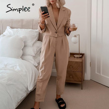 Simplee Tweedelige Blazer Vrouwen Suits Lange Mouwen Double Solid Casual Blazer Broek Sets Office Dames Elegante Broek Past 2020(China)