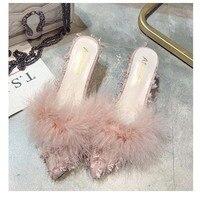 Femmes réel autruche cheveux talon pantoufles femme mode fourrure pantoufles haute qualité antidérapant Sexy pantoufles dames parti talon chaussures