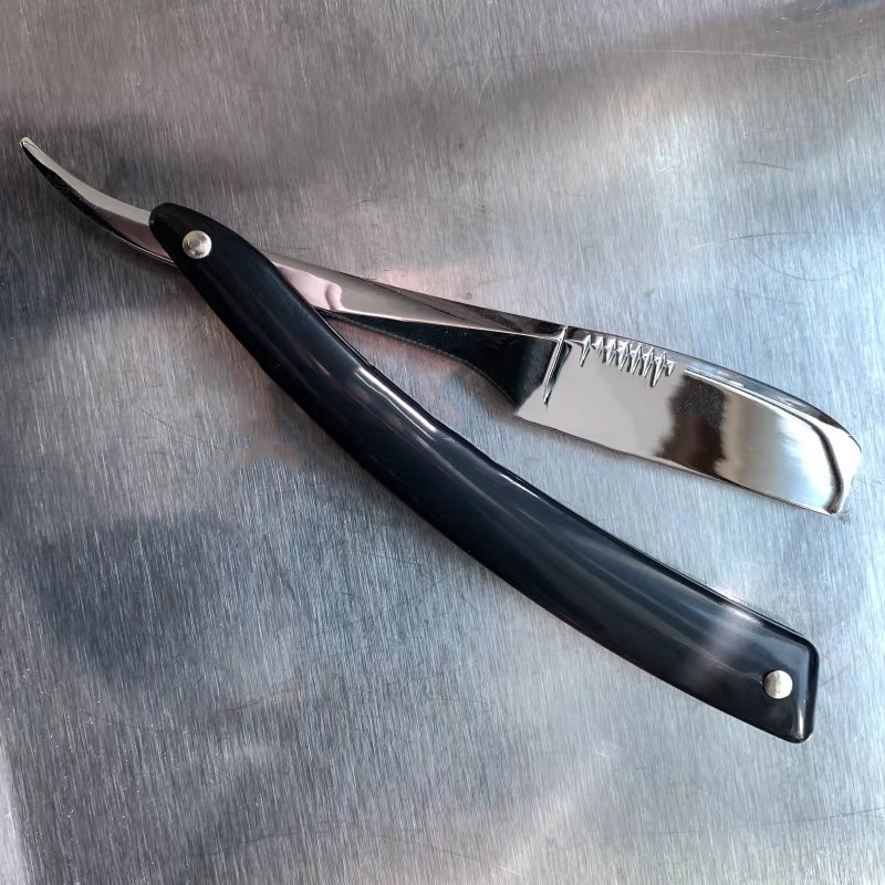Men Shaving Straight Razor Natural Beech Wood/ABS Handle Carbon Steel Blade Manual Barber Shaver For Feather Blade G0420