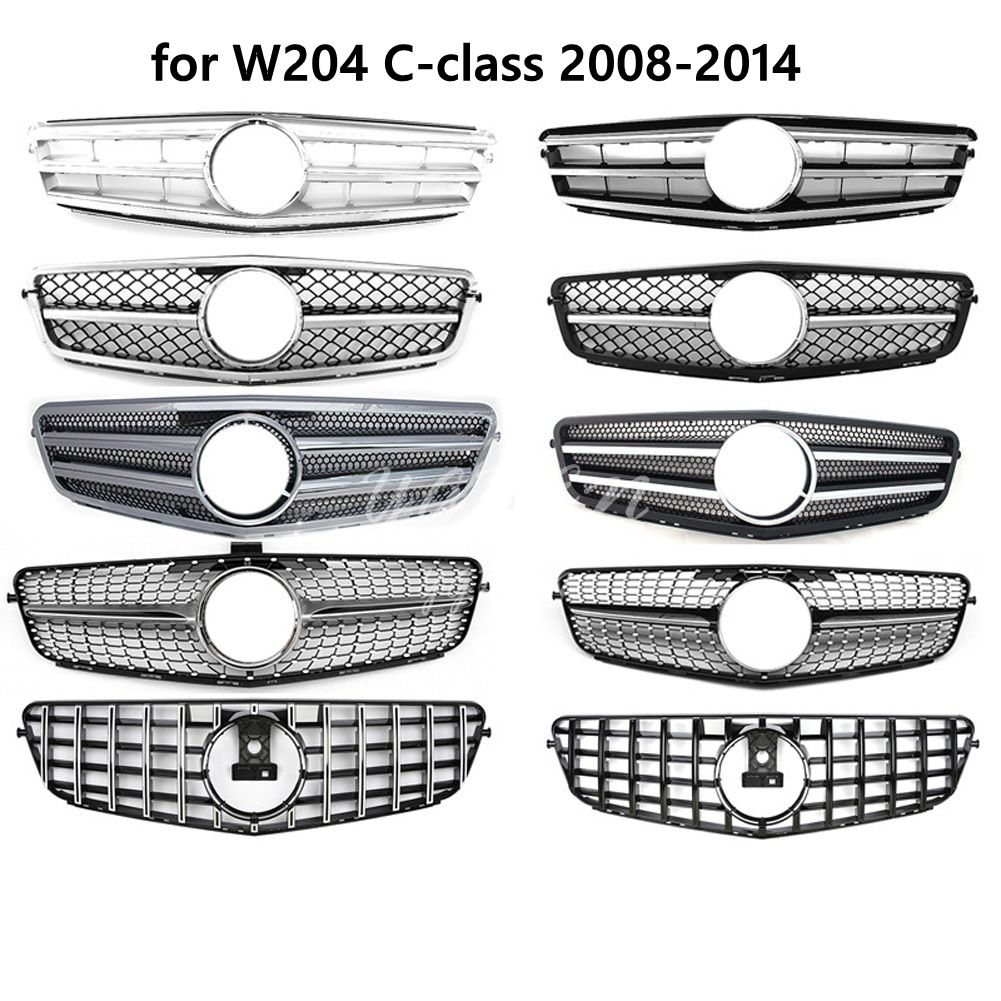 Front Grille fit for Mercedes <font><b>Benz</b></font> C Class <font><b>W204</b></font> C180 C200 C230 C300 C260 2008-2014 Replacement Racing <font><b>Grills</b></font> image