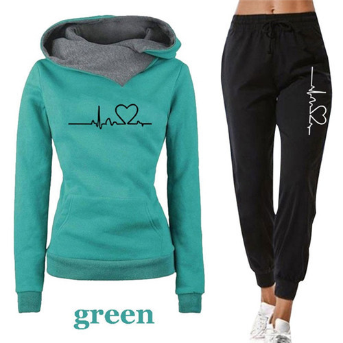 Women Tracksuit Pullovers Hoodies and Black Pants Autumn Winter Suit Female Solid Color Casual Full Length Trousers Outfits 2021 7