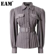 [EAM] Vintage Belt Twist Knitting Cardigan Sweater Loose Fit Lapel Long Sleeve Women New Fashion Tide Autumn Winter 2021 1DD3603
