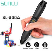 цены SUNLU 3D Pen SL-300A Support ABS/PLA/PCL Filament 1.75mm Children Drawing Printing Pens Temperature Adjustable Magic Pen