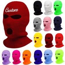 Personalize o chapéu da máscara do balaclava do gorro do inverno dos homens do womne do chapéu mascarado do ciclismo do esqui com letras do bordado nome do texto logotipo skullies