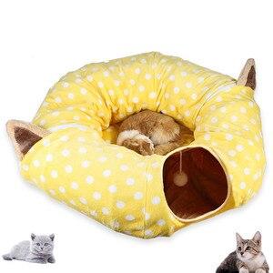 Игрушка для кошек Складная Съемная туннель для кошек Pet интерактивные игровые игрушки звуковая Бумага кольцо колокольчик для кошек хорьков...