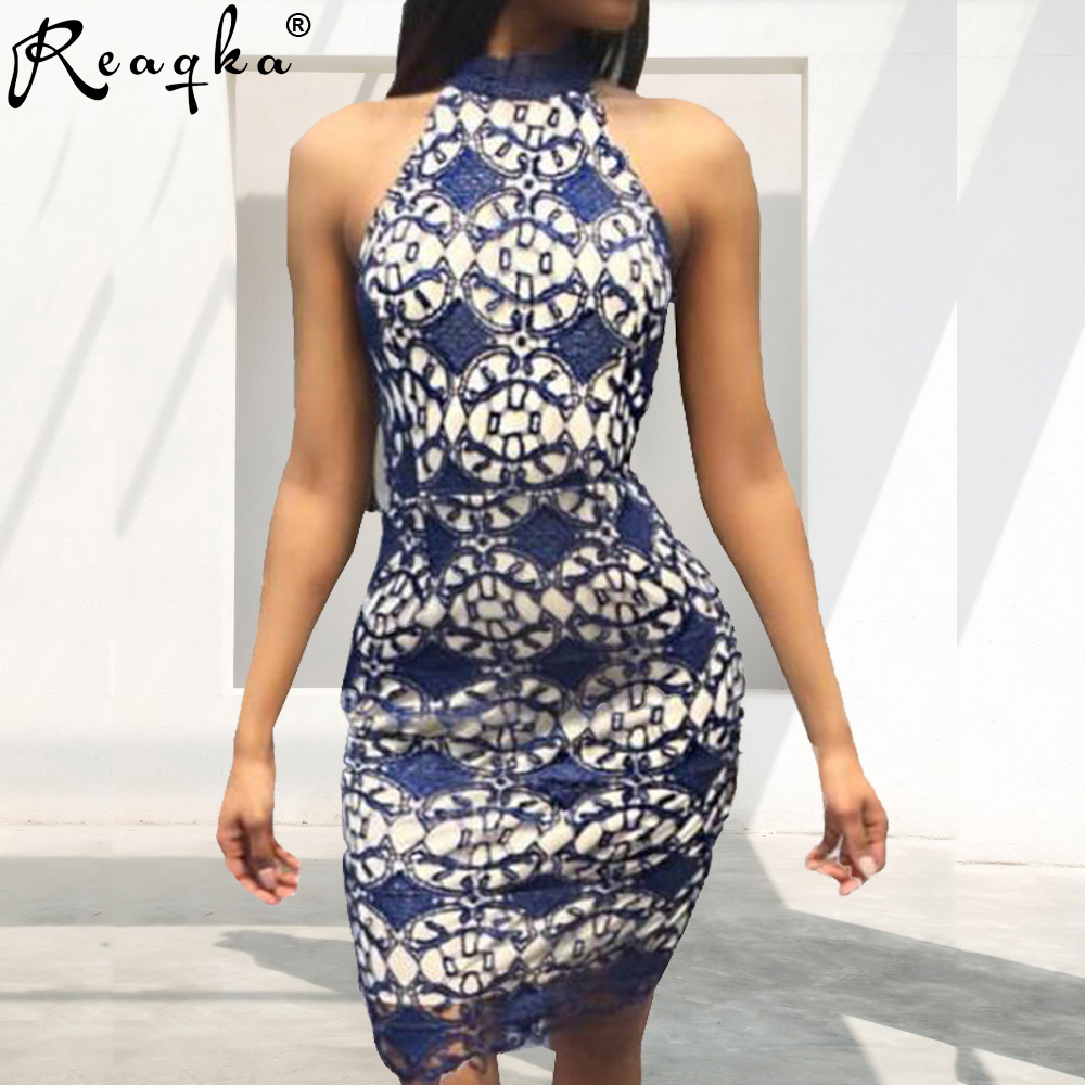 Reaqka Women <font><b>Elegant</b></font> Wedding <font><b>Party</b></font> <font><b>Sexy</b></font> Night <font><b>Club</b></font> Halter Neck Sleeveless Sheath <font><b>Bodycon</b></font> Mini Lace Dress Short <font><b>Off</b></font> <font><b>Shoulder</b></font> <font><b>2018</b></font> image