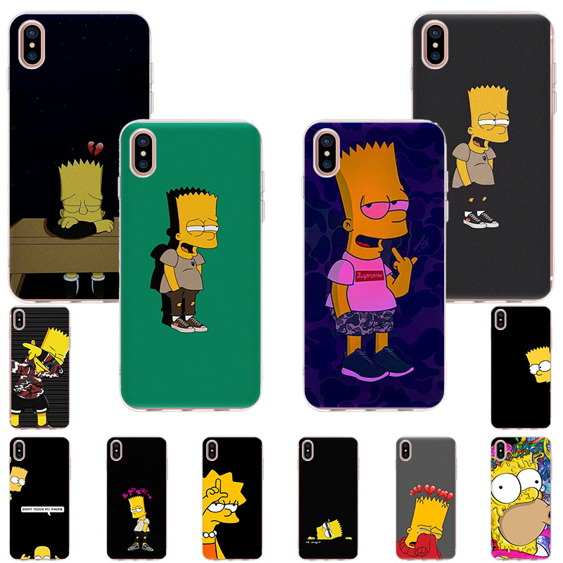 Soft TPU clear <font><b>silicone</b></font> Phone <font><b>Case</b></font> For <font><b>iPhone</b></font> 11 Pro X XR XS Max 7 <font><b>8</b></font> 6 6s Plus 5 se 5S The Simpson sad mode art patterned Cover image