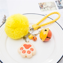 50pcs 5 colors Cat claw kitty Keyring Led Keychain flashlight Creative kids toy sound rings Key Chain Gift for Girl Child Friend
