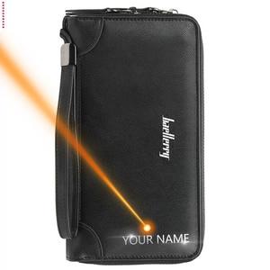 Image 4 - Nazwa grawerowanie Baellerry męska długa torba mężczyźni portfele mężczyźni portfele kopertówki biznes duża pojemność wysokiej marka jakości mężczyzna torebka
