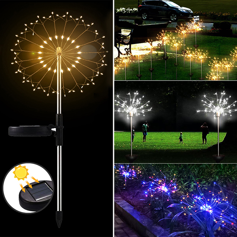 Solar Powered Dandelion Light 90/120/150 LED Waterproof Solar Lanterns Garden Lawn Landscape Fireworks Lamp Led Light Outdoor
