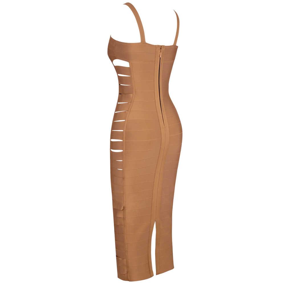 Ocstrade marron Strapy sans manches sur le genou découpe robe de pansement PF19176-Brown