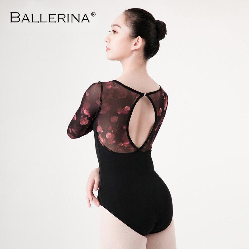 Image 5 - Ballet Leotards long sleeve For Women Dance Costume open back gymnastics printing mesh Leotards Ballerina 5887Ballet   -