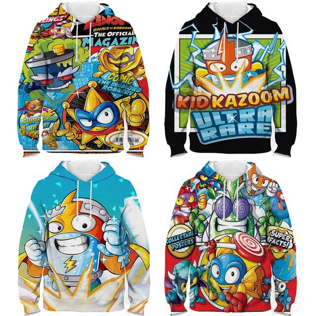 Children Super Zings Hoodie Boys Girls Cartoon 3D Printed Pullovers Kids Superzings Sweatshirt Harajuku Streetwear Spring Winter