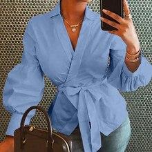 Plus tamanho celmia moda feminina topos e blusas vintage lanterna manga camisas túnica casual solto com decote em v elegante ol blusas com cinto