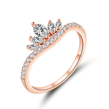 KOFSAC Chic Design 925 Silver Ring Women Fashion Jewelry Shiny Zircon Horse Eye Crown Rose Gold Girl Anniversary Accessorie