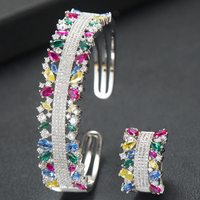 SISCATHY 3Tone AAA Cubic Zirconia Bracelets/Ring Jewelry Sets Trendy Inlaid Dubai Nigerian Wedding Jewelry Sets For Women Girls