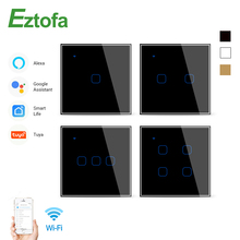 Wifi Touch Switch Smart Wall Switch 2/3 Way 1/2/3/4 Gang ac100-220v EU UK Standard Work with Alexa Google Home
