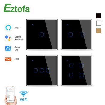 Wifi Touch Switch Smart Wall Switch 2/3 Way 1/2/3/4 Gang ac100-220v EU UK Standard Work with Alexa Google Home eu uk standard eruiklink wall switch light touch switch 2 gang 1 way ac110v 240v wall touch switch