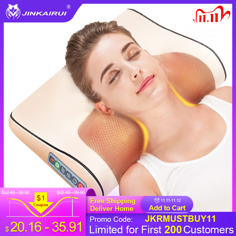 Jinkairui Infrared Heating Neck Shoulder Back Body Electric Massage Pillow Shiatsu Device Cervical Health Massageador Relaxation massage pillow shiatsu massage deviceshiatsu massage - AliExpress