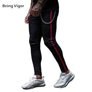 Мужские обтягивающие джинсы s, эластичные черные джинсы с красными полосками сбоку, растягивающиеся джинсовые брюки, 2019