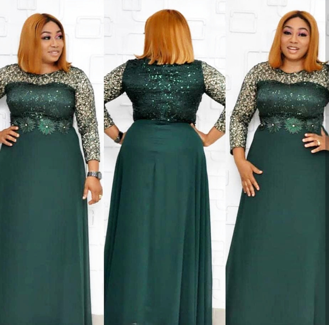 2020 New Spring African Women O-neck Long Sleeve Sequined Polyester Plus Size Long Dress L-2XL