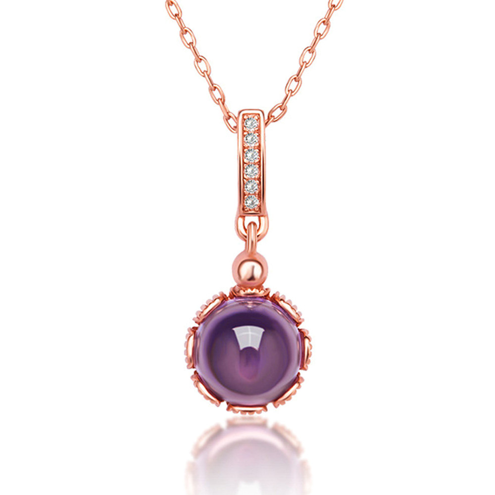 Amethyst Necklace Oval Pendant Slide Gold-plated Sterling Silver Adjustable