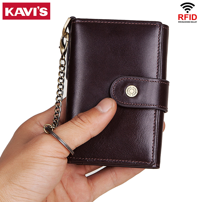 KAVIS Rfid Cow Genuine Leather Men Credit Card Holder ID Bussiness Card Wallet Male Travel Case Purse Photo Cover Organizer