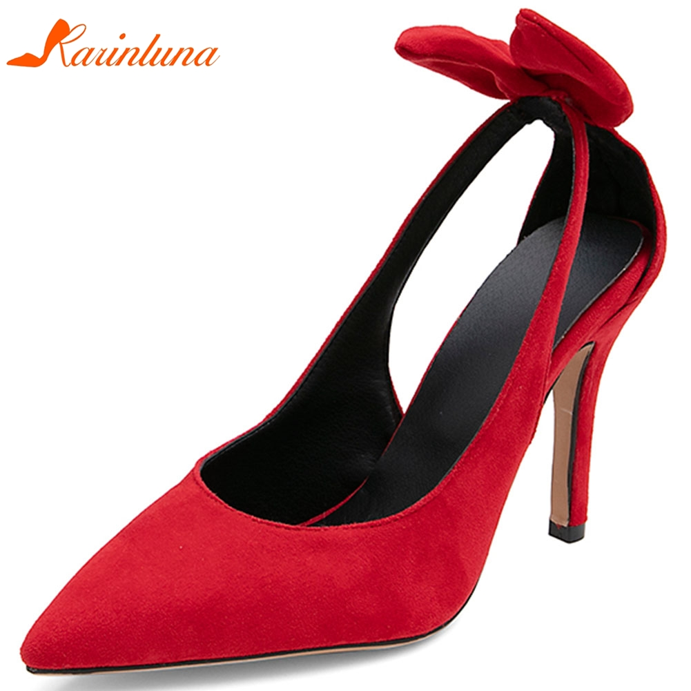 Karinluna New Wholesale Thin <font><b>High</b></font> <font><b>Heels</b></font> Plus <font><b>Size</b></font> <font><b>50</b></font> Sexy Bow Pointed Toe Party Women Shoes Woman Pumps Female image