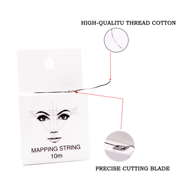 Pre-Inked Mapping String for Eyebrow Measuring Made From Natural Bamboo Charcoal Thread. Microblading Supply 10Meter 4