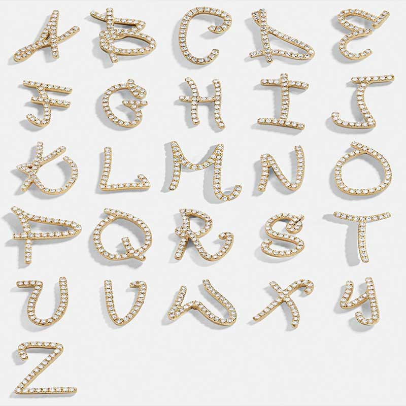 1pair Christmas Gift  A-Z Letters Full Rhinestone Alphabet Letter Stud Earring Fashion Zirconia Initial Earrings For Women