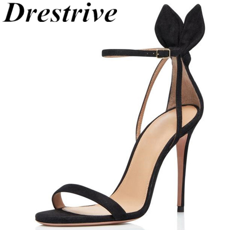 Drestrive Customize Women's Sandals 2020 Summer Female High Heel Shoes Black Thin Heels Buckle Rabbit Ears Party Round Toe