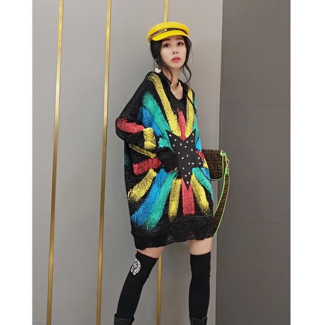 Tide brand women 2021 spring new fashion sweater women's Korean style hooded sweater star sweater mid-length fashion streetwear 6