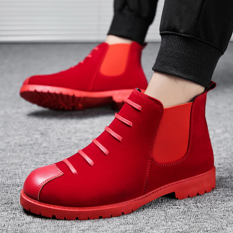 Men Snow Boots Autumn Winter No Plush Red Ankle Boots Male High Top Dress Work Shoes Men Zapatos De Hombre Sneaker Chelsea Boots