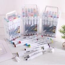 Barrel mark pen schoolchildren triangle pole double students painting colour pen alcohol markers to suit box