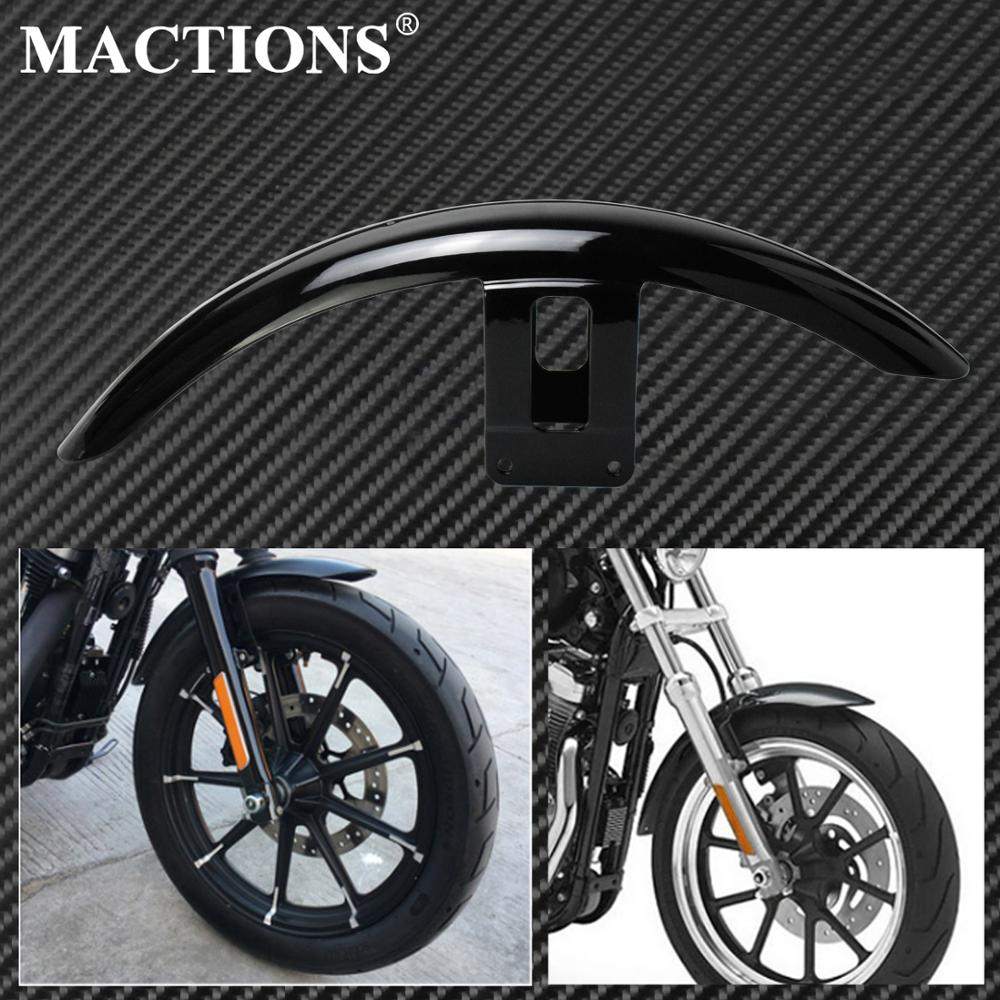 Motorcycle Front Fender Mudguard Cover Gloss Black ABS Plastic Fits For <font><b>Harley</b></font> Sportster <font><b>Iron</b></font> <font><b>883</b></font> Super Low XL883L 2004-2016 image