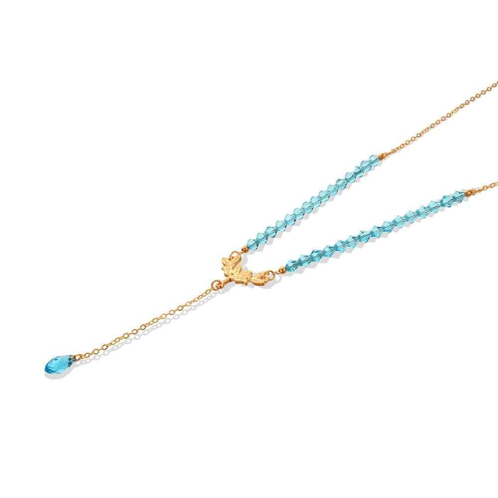 โบฮีเมียลูกปัดแก้วสีฟ้าคริสตัลสร้อยคอสีทองยาวสร้อยคอจี้สร้อยคอผู้หญิงของขวัญเครื่องประดับ